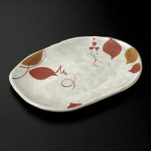 赤絵木の葉小判形取皿 和食器 フルーツ皿・銘々皿・取皿 業務用 約17.5cm 和食 和風 プレート フルーツ デザート 和菓子 甘味 ケーキ 和テイスト 定番 取り皿