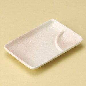 桜志野6号長角仕切皿 和食器 仕切付焼物皿 業務用 約17.6cm 和食 和風 焼肉店 ポテトフライ ダイニング チーズフライ だし巻き玉子 寿司 刺身
