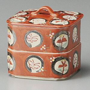 赤丸紋二段重 手描き 和食器 蓋物・段重 業務用 約11cm 和食 和風 和菓子 煮物 漬物 花見