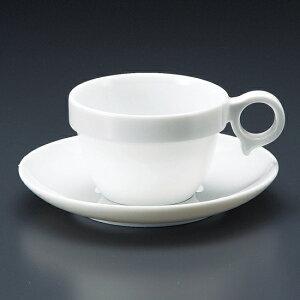 MARU手付きスタックカップ中碗皿 洋食器 カップ&ソーサー アメリカン 業務用 ライトコーヒー シンプル ケーキ屋 ベーカリーカフェ イタリアンレストラン フレンチレストラン