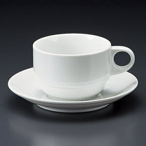 白スタックコーヒー碗皿 洋食器 カップ&ソーサー コーヒー 業務用 喫茶店 珈琲屋 カフェ ケーキ屋 花柄 シンプル パン屋 ベーカリーカフェ