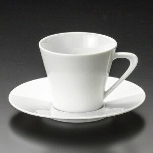 白磁ホルンコーヒー碗皿 洋食器 カップ&ソーサー コーヒー 業務用 喫茶店 珈琲屋 カフェ ケーキ屋 花柄 シンプル パン屋 ベーカリーカフェ