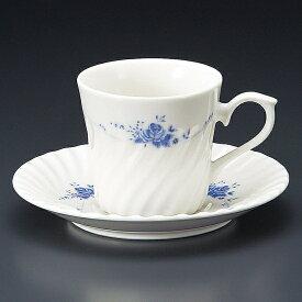 ブルーローズNBコーヒー碗皿 洋食器 カップ&ソーサー コーヒー 業務用 喫茶店 珈琲屋 カフェ ケーキ屋 花柄 シンプル パン屋 ベーカリーカフェ