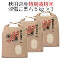 お米 白米 秋田県産 特別栽培米 淡雪こまち 15kg( 5kg×3 )令和1年産 送料無料(北海道・沖縄は除く)