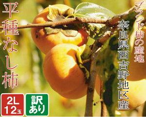 訳あり 奈良県産 平たねなし柿 2Lサイズ 12個 高級 奈良西吉野 ブランド柿