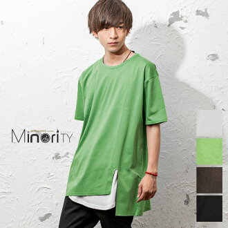 It is men fashion mode system street system salon system minority minority in spring clothes spring and summer in long length T-shirt men long short-sleeved asymmetric lei yard layering diagonal white white black black green Korea fashion summer clothes
