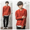 Knit men big silhouette big size big knit jersey-knit so long sleeves plain fabric layering Korea fashion autumn clothes clothes fall and winter men fashion mode system street system minority minority in the fall and winter