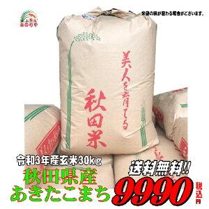 新米令和3年産秋田県産 あきたこまち 玄米 30kg お米  精米無料 送料無料   【smtb-TD】【saitama】