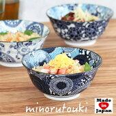 食器和食器美濃焼麺鉢らーめんラーメンどんぶり染付藍青ブルーみのる陶器紺青反型6寸丼