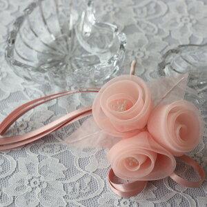 ♪巻きバラ3輪♪コサージュ ピンク