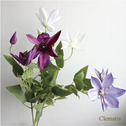 【SALE】¥1000→¥800 クレマチス造花 インテリア 未触媒 フェイクグリーン 観葉植物 3956