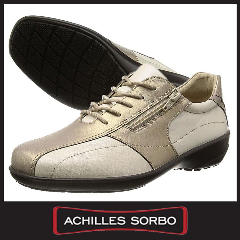 【送料無料】 アキレスソルボ 177 本革 3E アイボリーメタ/ゴールド 革靴 Achilles SORBO レディース 日本製 ウォーキングシューズ 【RCP】
