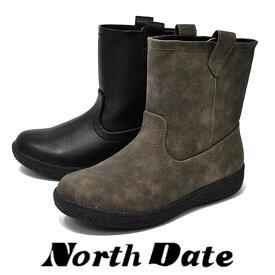 防寒 カジュアル スノーブーツ 黒 スパイク NORTH DATE ショート ノースデイト 12736 冬 雪道 防滑 レディース エンジニアブーツ 婦人靴 【RCP】