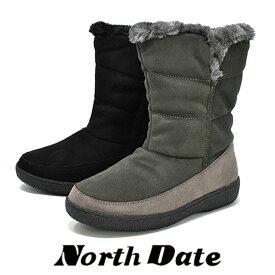 防水 防寒 スパイク スノーブーツ 黒 NORTH DATE ミドル 北海道 冬靴 ノースデイト 62737 冬 雪道 防滑 レディース ブーツ 婦人靴 アウトドア