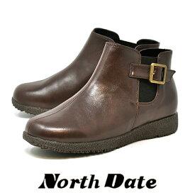 防寒 防水 カジュアル スノーブーツ レディース NORTH DATE サイドゴア ノースデイト 6050 ブラウン 雪 冬