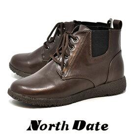 防寒 防水 カジュアル スノーブーツ レディース NORTH DATE サイドゴア ノースデイト 6051 ブラウン 雪 冬
