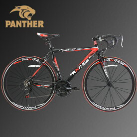 PANTHER (パンサー)ロードバイク4色/3サイズ可選 シマノ21段変速 超軽量異型アルミフレーム 700C×23C 適応身長160cm以上 前後ホイールクイックリリース搭載 ドロップハンドル メーカー保証1年(色 Matte Black/Red)
