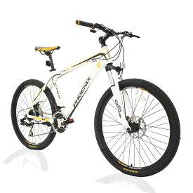 オフロードマウンテンバイクMTB 26inch×1.95 シマノshimano 21段変速 ST-EF51 シフトブレーキ兼用レバー(色White/Yellow)