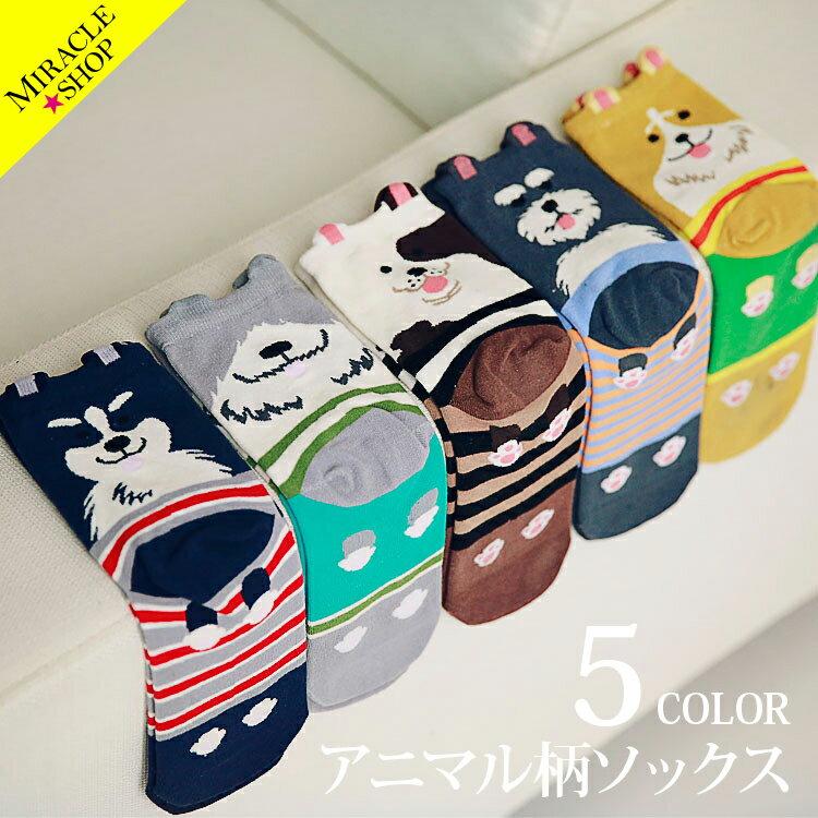 【全5色】靴下 ソックス かわいい 犬ソックス socks カラフル colorful コットン 柔らかい 履き