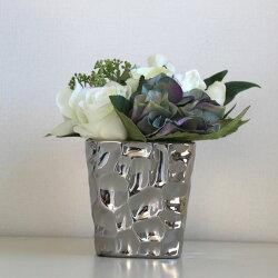 シルバーcolorモダンシックなフラワーベース/花器/花瓶【サイズM】和モダンモダンシックMONOTONE白黒ブラックモダン北欧【MIRAGE-STYLE】