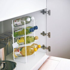 新商品シンク下ボトルストッカー4段タワー【2色】キッチン用品収納洗面台【MIRAGE-STYLE】4304(W)4305(B)YZ