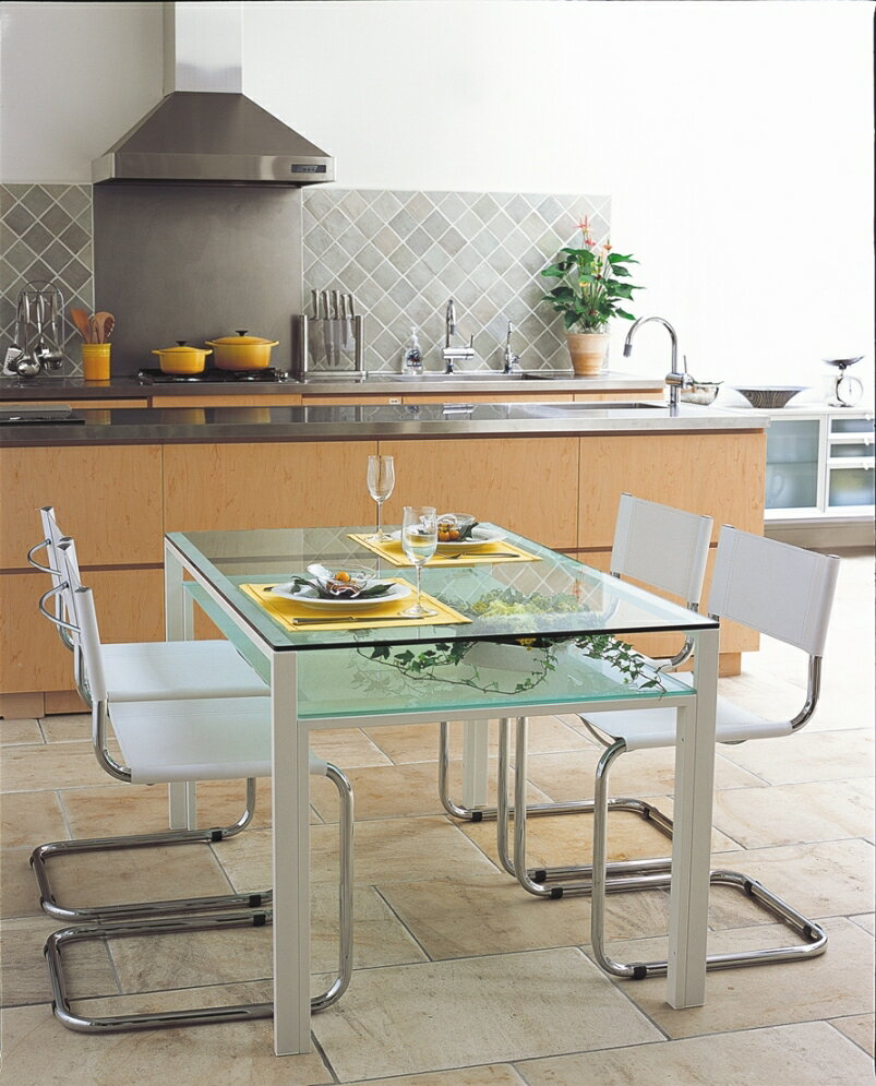 【送料無料】【DT-14】ガラスダイニングテーブル1500x800mm/ホワイトフレーム・クリアガラス天板/クリアガラス棚付き