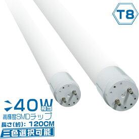led蛍光灯 40w形 40W型 直管led蛍光灯 広角320度 120cm グロー式工事不要 昼光色/昼白色/電球色 3色選択 【1本売り】 1年保証