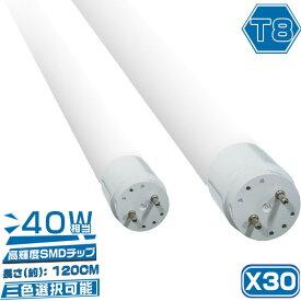 LED蛍光灯 40w形 40W型 直管 広角320度 120cm【30本セット】グロー式工事不要 昼光色/昼白色/電球色 3色選択 高輝度タイプ 1年保証 送料無料 PCL
