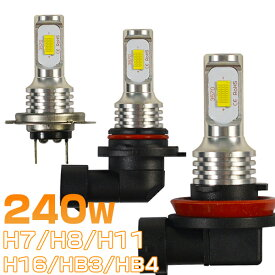 類似品にご注意 240W ledフォグランプ 二面発光 チップ48枚搭載 H7 H8 H11 H16 HB3 HB4 ファンレス ミニサイズ 簡単取付 ledバルブ 「2個入り」 ホワイト 1年保証 送料無料