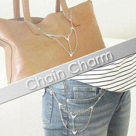 チェーンチャームバッグチャームデニムチェーンアクセサリーフラワーモチーフ カジュアルchain charm