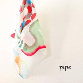 yui matsuda「pipe」ハンカチ コットン100%テキスタイル 綿サテン一点物 松田唯