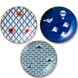 ザ・ポーセリンズ「The Porcelains小皿」網目or空に千鳥or波にクジラ醤油皿 お皿ピクセルアート波佐見焼 日本製 陶器