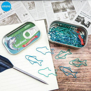 OTOTOSARDINE PAPER CLIPS「いわし 缶詰ペーパークリップ」缶ケース付き魚 クリップ かわいい 文房具