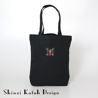 Entering Initial Embroidery Tote Bag M Size Canvas Place Ballet Motif Lesson Black