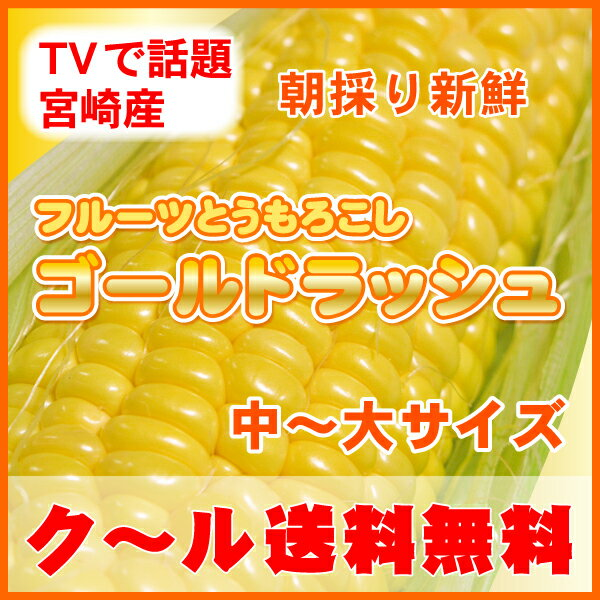 本日さらに最安値■TVで話題の宮崎産!4kg送料無料・クール代込!朝もぎ新鮮極甘生で食べれるフルーツとうもろこし・ゴールドラッシュ旬を先取り今食べれるよ!