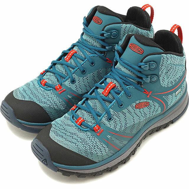 【40%OFF】【在庫限り】KEEN キーン アウトドアフィットネスシューズ レディース WMNS Terradora Mid WP テラドーラ ミッド ウォータープルーフ Blue Coral/Fiery Red 靴 (1017685 FW17)【e】【ts】【コンビニ受取対応商品】