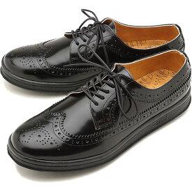 【8/10限定!楽天カードで15倍】マネブ MANEBU ウィングチップ レザーシューズ UKI FACESKIN レザースニーカー メンズ 靴 BLACK [MNB-003B FW18]