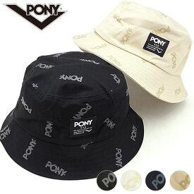ポニー PONY 総柄織りネームバケットハット メンズ・レディース フリーサイズ ロゴ 帽子 [PN-PM002 FW19]【メール便可】