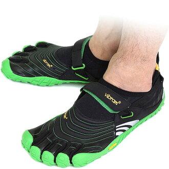 Vibram 五趾鞋 Vibram 五手指男裝斯皮黑色/綠色 Vibram 五手指五手指鞋赤腳 (M4582)