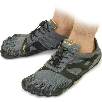 Vibram 五趾鞋 Vibram 五手指男裝 KSO EVO 灰/黑 Vibram 五手指五手指鞋赤腳的 (15 M 070140)