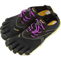 VibramFiveFingersビブラムファイブフィンガーズレディースV-RunBlack/Yellow/Purpleビブラムファイブフィンガーズ5本指シューズベアフットウィメンズ(16W3105)