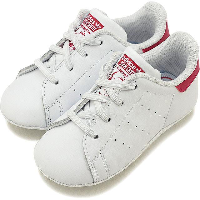 【即納】【10〜12cm】adidas アディダス スニーカー 靴 キッズ オリジナルス STAN SMITH CRIB スタンスミス ベビー Rホワイト/Rホワイト/ボールドピンク (S82618 SS18)【コンビニ受取対応商品】