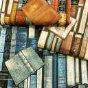 【綿キャンバスプリント生地】Vintage Real Book【コットン リアルプリント ブック 本 本棚 ヴィンテージ コッカ インテリア 雑貨 バッ…