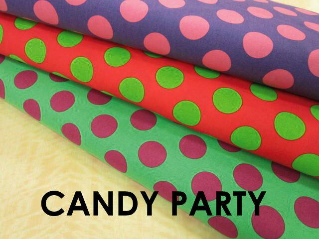 【シーチング生地】ラージドットプリント【CANDY PARTY】キャンディパーティ/水玉【パープル×ピンク/ピンク×ライトグリーン/グリーン×パープル】