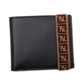 フェンディ FENDI レザー ウォレット 二つ折り財布 [小銭入れなし] ブラック×イエロー [メンズ] 7M0266 A8VC F17BJ【I21】