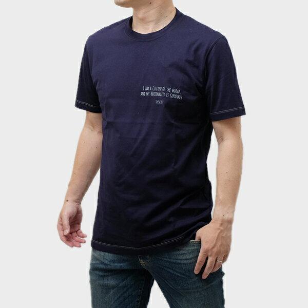 ブルネロクチネリ BRUNELLO CUCINELLI コットン 半袖 Tシャツ ネイビー [メンズ] M0T617473 CW283
