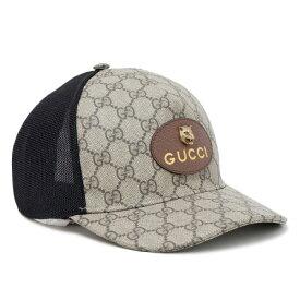 66d4fed52a46 【サイズL】グッチ GUCCI GGスプリーム ベースボール キャップ 帽子 レザーエンブレム [メンズ