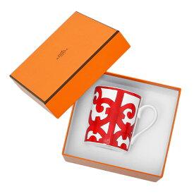 エルメス HERMES ガダルキヴィール マグカップ シングル 300ml 食器 陶器 ホワイト×レッド 011031【○L24】