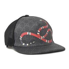 グッチ GUCCI GGスプリームキャンバス キングスネークプリント ベースボール キャップ 帽子 ブラック×グレー [メンズ] 426887 4HB10 1060