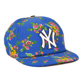 【お買い物マラソン◆期間限定アイテム】グッチ GUCCI NYヤンキース コラボ ベースボール キャップ 帽子 ブルー [レディース] 538562 3HE37 4867【A14】